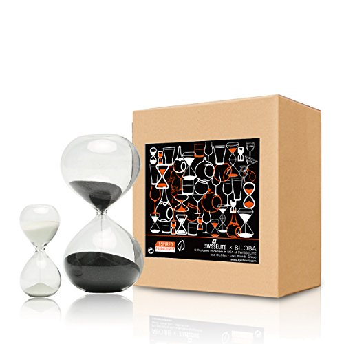 BILOBA Sand Timer/Sanduhr Set of 2 Für Time Management Glas, 30 (oder 60 Minuten) + 5 Minute Set, Cocoa/Creamy White, 5.6 Inch,60 Mins(+/-360S) 3.2 Inch,5 Mins(+/-30S) -
