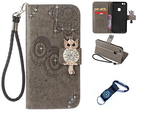 Preisvergleich Produktbild für Huawei P10 Lite 2017 Hülle Blume Premium PU Leder Schutzhülle für Huawei P10 Lite 2017(5.2 Zoll) Bookstyle Tasche Schale PU Case mit Standfunktion+Outdoor Kompass Schlüsselanhänge)#W (1)