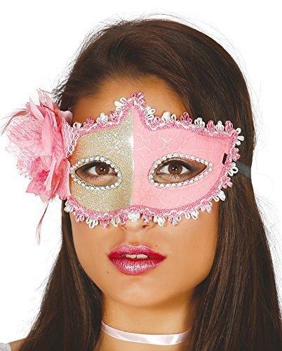 Fancy Me Damen Gold Split Blumendetail Maskenball Mardi Gras Festival-Karneval Augen Maske Kostüm Kleid Outfit Zubehör - Pink/Gold