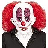 lively moments Máscara Horrorclown Goofy con Aufgerissenen Augen & Rojo Cabello / de Látex /Halloween/Clownmaske
