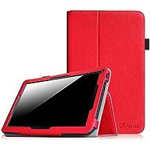 """Fintie Folio Case Funda Cascara Delgada con Soporte para iRULU eXpro X1s / eXpro X1 Plus / eXpro 1Plus Tablet (X1Plus) 10.1, WeVool NEMESIS - Tablet 10.1"""", Leotec LETAB1016 - Tablet de 10.1"""", JINYJIA E-SHOP 10"""" Pulgadas, Dragon Touch A1X Quad Core 10,1 Pulgadas Tablet, AcePad SuperPad XT2 10"""" Pulgadas Tablet, Tabexpress (10 Pulgadas) Tablet, Polatab Elite Q10.1"""", iStyle 2014 New 10.1"""" Pulgadas (Consulte más modelos de tablet compatibles en la Descripción), Rojo"""