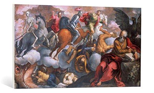 """Quadro su tela: Jacopo Palma il Giovane """"Johannes erblickt die vier apokalyptischen Reiter"""" - stampa artistica di alta qualità, tela con intelaiatura in legno, quadro pronto per essere appeso, 100x55 cm"""