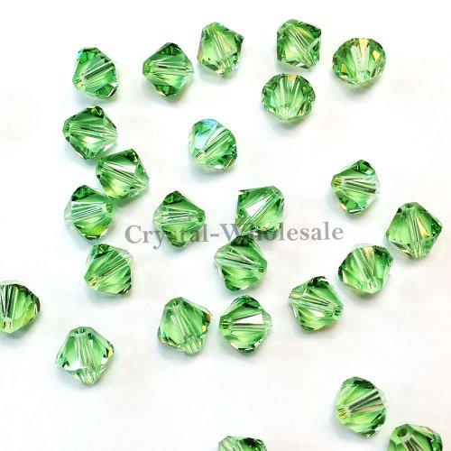 180 pcs Swarovski crystal 5328 / 5301 6mm PERIDOT (214) Genuine Loose Bicone Beads **FREE Shipping from Mychobos (Crystal-Wholesale)** - Bicone Swarovski 6mm Crystal