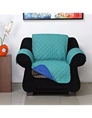 1 Seater Reversible Sofa Cover 179 cm x 165 cm - @home by Nilkamal, Sea Green & Indigo