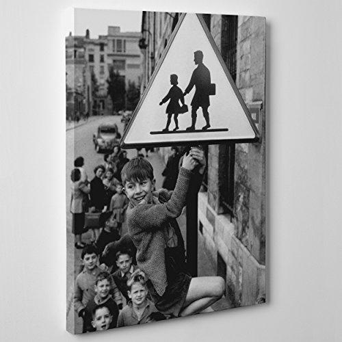 ConKrea Quadro auf Canvas - gerahmt - zum Aufhängen - Kinder in Scuola rue Damesme - Robert Doisneau - STORIA Della FOTOGRAFIA - Street Photography Dimensione: 100x152cm A - Senza Cornice