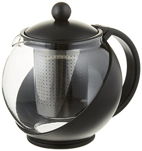 Tempered Glass Tea Pot w/ Removable Steel Infuser by Pride Of India (25 oz (3 - 4 Cups))