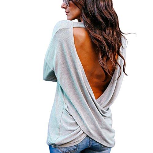 Sweatshirt Damen VENMO Frauen Elegant Rückenfreie Bluse Langarmshirts Pullover Sweater Pulli T-Shirt Oberteile Sexy Tops Crop Solid V-Ausschnitt Rückenfreie T-Shirt Bluse Solid Tops (Sexy Grau, L)