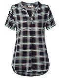 BaiShengGT Damen V-Ausschnitt Kurzarm T-Shirt Locker Shirt Bluse Oberteile Grün-Kariert XXL