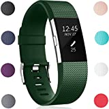 For Fitbit Charge 2 Strap, HUMENN Charge 2 Strap Adjustable Replacement Sport Accessory Wristband for Fitbit Charge2 Fitness Tracker Small Military Green