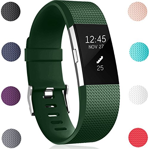 Für Fitbit Charge 2 Armband, HUMENN Charge 2 Armband Weiches Silikon Sports Ersetzerband Fitness Verstellbares Uhrenarmband für Fitbit Charge2 Large Militärgrün