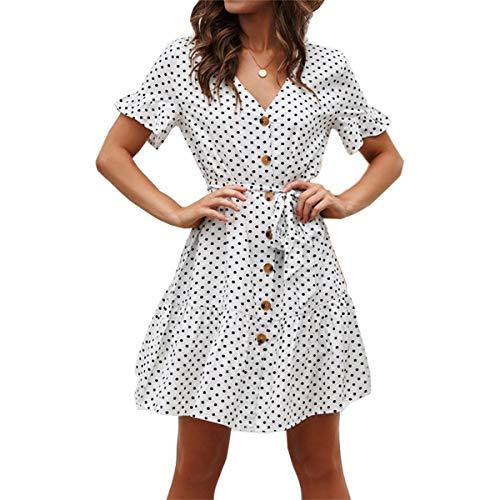 Xyhbava Damen Casual Retro Kleider V Ausschnitt Punkte Sommerkleid Rüschen Kurzarm Minikleid Strandkleid mit Gürtel (S, Weiß)