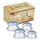 Massage Schröpfen Silikon Schröpfen Cups Vacuum Schröpfgläser Massage Cups Set,Anti Cellulite Cups,Transparent,4 Stück,S