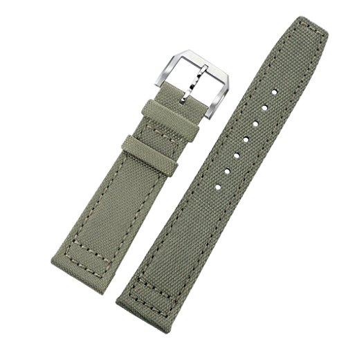 20mm hellgrün grau ballistischem Nylon Perlon Uhrbändern Aviator NATO Taucher Stil 2 Stück für Männer mit weichem Lederfutter Mann Ein Stück