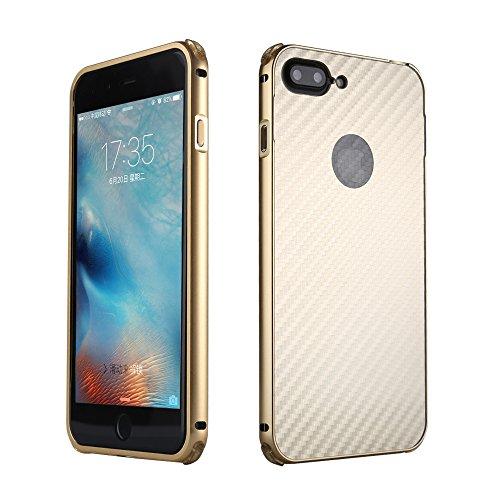 UKDANDANWEI Apple iPhone 8 Plus Hülle,Ultra Dünn Carbon-Faser Metall Zurück Case Cover mit Hard Bumper Schutz[Kratzfeste Stoßdämpfende] Überzug Aluminium Handy Tasche Schale für Apple iPhone 8 Plus -  Gold