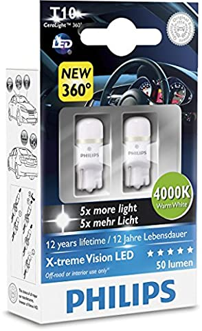 Philips 127994000KX2 X-tremeVision LED W5W T10 4000K CeraLight, Set of 2