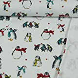 Stoffe Werning French Terry Pinguine weiß Kinderstoff
