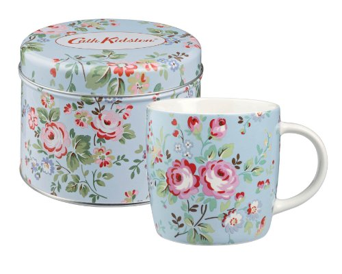Cath Kidston - Taza de porcelana en lata regalo con diseño de flores de color azul