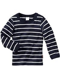 wellyou, Langarm-Unterhemd, dunkel-blau weiß, geringelt, für Jungen und Mädchen, 2er Set, 100% Baumwolle