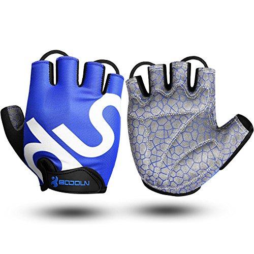 Fahrradhandschuhe Herren Sommer Gummi Gepolstert Damen Gym MTB Atmungsaktiv Rutschfestes Draussen Sommer Handschuhe Blau L by KONVINIT