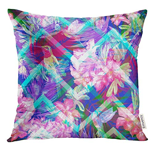 WYICPLO Throw Pillow Cover Lovely Floral So Beautiful Zigzag Exotic with Blooming Flowers Rhododendron and Flying Butterflies Decorative Pillow Case Home Decor Square es Pillowcase 18 inch X 18 inch