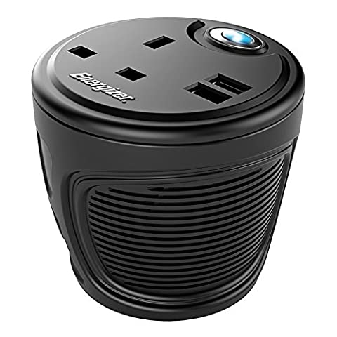 Energizer 120W Ultra Silent Cup Holder Inverter with 230V AC outlet and 2 USB Ports Compatible with Most USB Devices Including Smart Phones and Tablets, Black