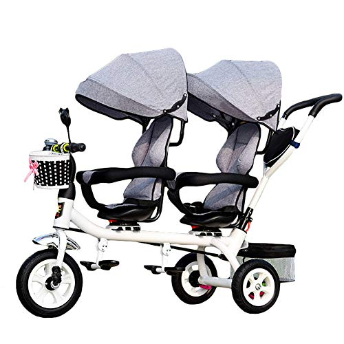CHEERALL Kinder 4 in 1 Trike doppeltes leichtes Kind 3-Rad-Dreirad mit Korb, Baby-Kleinkind-Zwillingssitze,Grey
