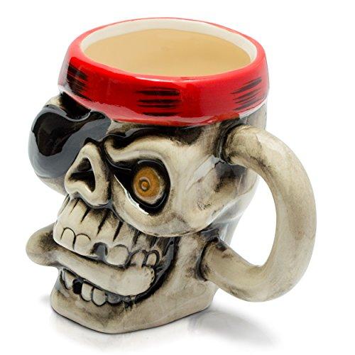 sse in Schädel Form - Bunt One Eyed Joe Design ca. 0,3l - Piraten Kaffeetasse zum Verschenken ()