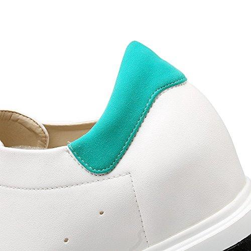AgooLar Femme Couleur Unie Matière Mélangee à Talon Haut Lacet Rond Chaussures Légeres Vert