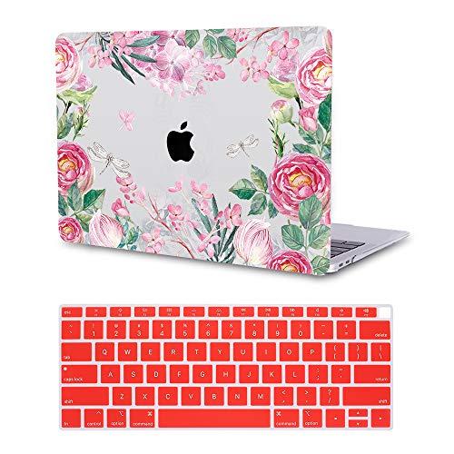 MTAOTAO Hartschale mit Tastaturschutz für MacBook Pro15 Zoll (A1707) Pink Watercolor Flower MacBook Air 13-inch A1932 2018