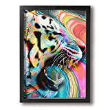 B.L.KLEEN Hand Painted Tiger Oil Paintings Modern Decoration Print Stretched and Framed Canvas Wall Art Ready to Hang for Living Room Bedroom Decoration