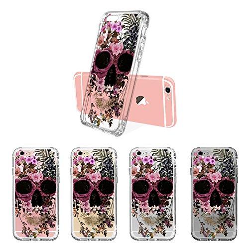 iPhone 6S Hülle, iPhone 6 Hülle, MOSNOVO Blühen Flower Skull Muster TPU Bumper mit Hart Plastik Hülle Durchsichtig Schutzhülle Transparent für iPhone 6S / iPhone 6 (Cool Flower Skull) Cool Flower Skull