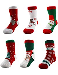 Meta-U® Christmas pattern relent cuff Socks- Thick Unisex Supper Warm Soft Stockings For Newborn Toddler Baby (6 pairs)