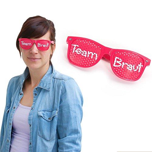 Oblique Unique® Braut Schärpe Brille Haarreif Herzen - Junggesellinnenabschied wählbar (Team Braut Brille)
