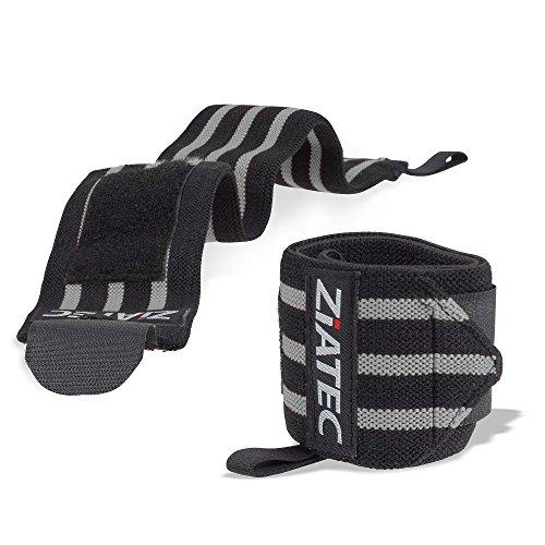 Ziatec Handgelenkbandagen Ultra (2er Set) - 50 cm Länge - Fitness, Bodybuilding & Cross-Fit-Bandagen - Studio-Bandage - Handgelenkgurte - Handbandagen, Größe:50.0 cm;Farbe:grau