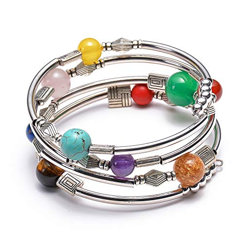 (LCM Damenarmband, Natürliches Türkise-Agate Multi-Circle-Wrap-Armband, Seven Chakra Multilayer-Armband, Strahlenschutz, Handgefertigter Armband,B)
