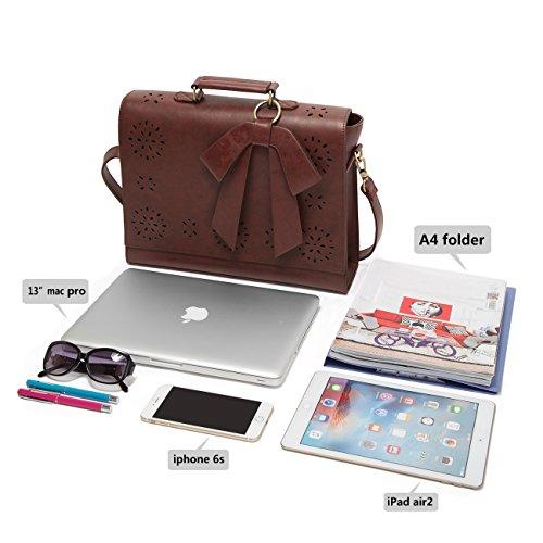 ECOSUSI Borsa a Tracolla Donna Borsa Messenger Vintage per Laptop 14 Pollici Valigetta da Ufficio Marrone