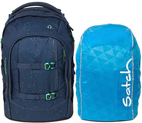 Satch Pack Space Race 2er Set Schulrucksack & Regencape blau