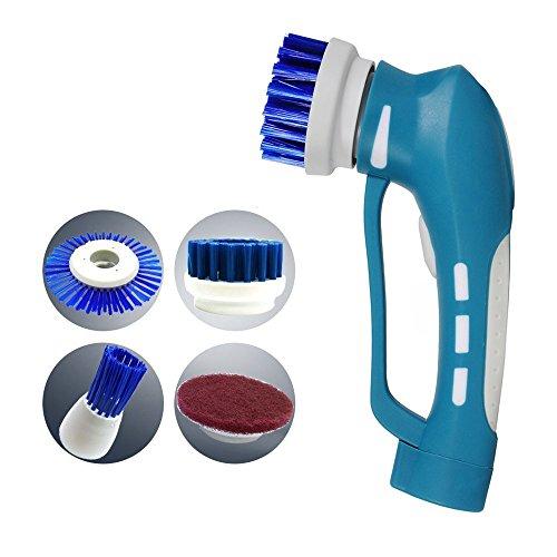 Handliche Reinigungsbürste EVERTOP Elektronik Reinigungsbürste IPX7 Wasserdicht vielfaltige Funktionen Haushalt Bürste mit 4 Bürste Kopf(C)