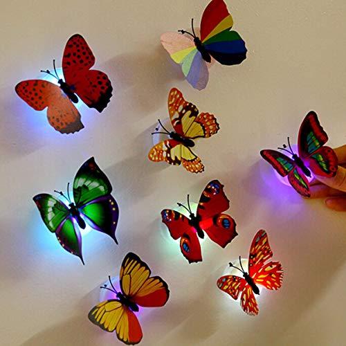 DIoFent 14Pcs Led Schmetterlinge Nachtlicht-Aufkleber Spielzeug-Wand-Dekoration Für Festival-Party-Geburtstag Hochzeit Weihnachten Kinderzimmer Schlafzimmer-Tür-Fenster (Bunte) -