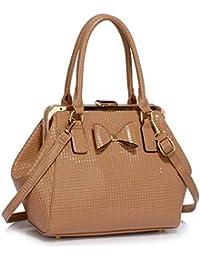 6784e0d4b7295 Ladies Designer Shoulder Handbags Patent Bow Framed Satchel Womens Faux Leather  Celebrity Bag