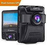 Crosstour GPS Autokamera Dashcam 1080P Vorne und 720P Hinten Kamera mit Parküberwachungsfunktion