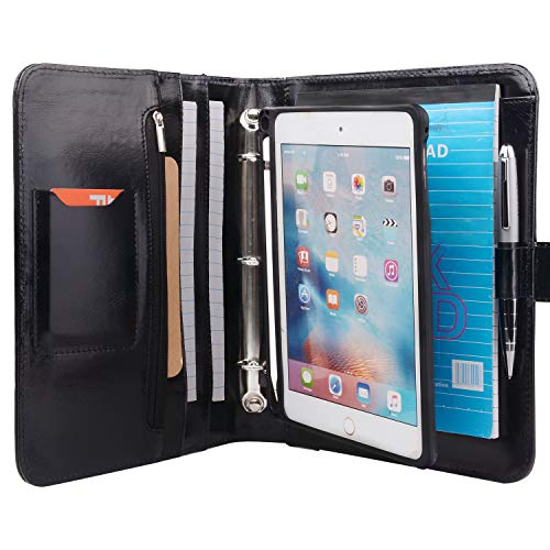 Ledermappe mit abnehmbarer Tablet-Halterung, Organizer Padfolio Hülle mit 3 Ringbindern für iPad Mini 5/Mini 4 9.8x9.8x7.3 In. schwarz (3-ring Binder Ipad)
