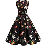 iShine Weihnachten Kleid Damen Ärmellos Rockabilly Kleid Halloween Festlich Kleid für damen Swing Kleid Partykleid Cocktailkleid-BK/A-M