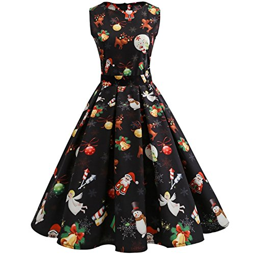 iBaste Women's Slim Fit Retro Round Neck Sleeveless Dresses 1950S Vintage Cocktail Party Evening Swing Dress