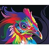 Guume Rahmenlose Bilder Malen Nach Zahlen DIY Ölgemälde Auf Leinwand Home Decor Leinwand Wandbilder Tier Abstrakte Farbe Huhn 40X50cm