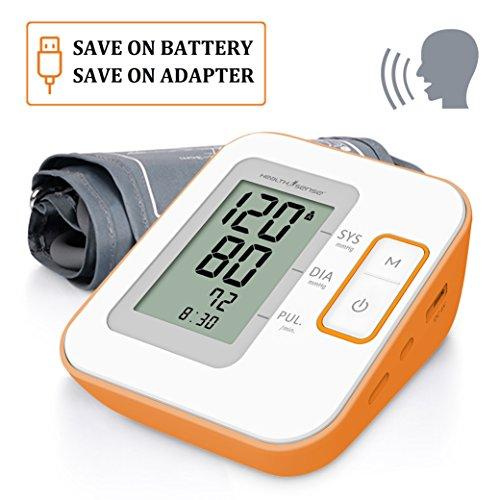 Health Sense BP100 Heart Mate Classic Fully Automatic Digital Talking Blood Pressure Monitor (White/Orange)