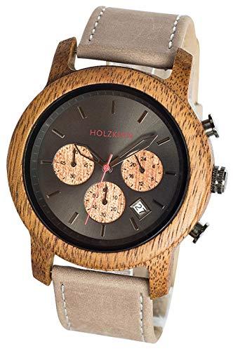 LAiMER Holzuhr WINNIE - Damen Armbanduhr aus 100% Zürgelbaumholz und Ahornholz für einzigartige Kombination aus hell und dunkel - natürlich, federleicht, Südtirol