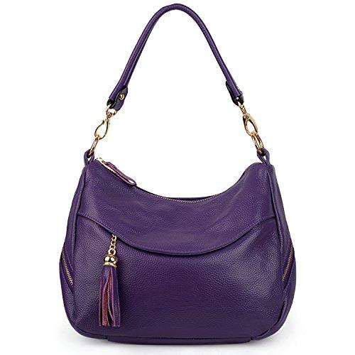 Yaluxe Damen Elegant Leder Mittel Größe Quaste Handtasche Schultertasche -lila (Lange Behandelt Handtaschen)