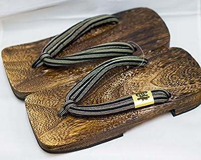 [Japón Hecho] para hombre Geta Paulownia sandalias de madera tradicional de calzado Shima Diseño Talla L