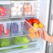 حاويات تخزين المطبخ مع مقبض، صناديق تخزين الطعام من البلاستيك القوي مع أغطية للثلاجة، الثلاجة، المجمد، المكتب،